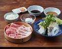 【ランチ】国産牛ロース80g + 米澤豚しゃぶしゃぶセット
