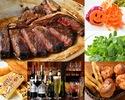 【ディナー/ Tboneステーキコース(肉一名200g/全8品)】★フリードリンク90分込 4名様~