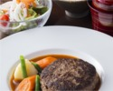 Lunch【Limited number】Dry aged Japanese black beef's hamburger steak roasted on a hot plate (200 g)