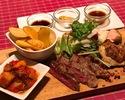 三種お肉のグリル盛り合わせプレート<牛リブロース・鶏もも・やまと豚ロース>