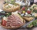 【春のおすすめご宴会 春野菜と牛肉の旨辛陶板焼きコース】新鮮鮮魚五点盛り、蒸し鶏とレタスのシーザーサラダ(全9品)2時間飲み放題付