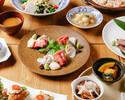 鮮魚5種盛り合わせ、黒毛和牛ステーキとウニイクラの贅沢羽釜御飯コース