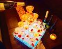 【金・土・祝前日】【お祝いに最適♪シャンパンタワー付き】季節のお食事7品+お祝いメッセージ入りハニトー+アルコール飲み放題