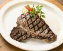 【ディナー】 薪窯でじっくり焼く カナダ産 Tボーン ステーキ(450g)+食べ放題メニュー