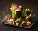 旬の前菜、焼物、煮物など旬を愉しむ全10品 土日祝日ディナー15,400円(サ抜)