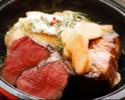 【2名様OK!】門崎熟成肉&一頭買いブランド豚「Tokyo X」本日の部位食べ比べ含む全4品+乾杯スパークリングワインor直輸入樽生クラフトビール1杯付き