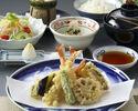 【天ぷら御膳×選べる乾杯酒付】先付、お造り、天ぷら盛合わせなど、旬食材を贅沢にホテル高層階で味わう