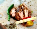 """HARU course"" Main dish is charcoal grilled SHIMANTO pork"