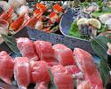 【金土日限定】豊洲直送!大トロ握り鮨・アワビと鯛と鰹藁焼き等海鮮鮨尽くしコース全9品4000円