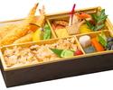 【テイクアウト】熟成魚の漬け焼と海老のおかき揚げ弁当(鶏五目御飯)