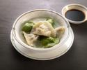 【冷凍品】水餃子セット(青菜とハス・ニラと海老 各15個 タレ付き)