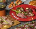 【3時間飲み放題4500(税抜)】メインは赤身、サーロインなどグリル6種盛り合わせ、馬肉カルパッチョなど8品