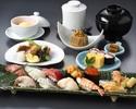 1ドリンク付き!旬の先付や煮物と、厳選ネタのにぎり寿し盛合せセット「熊野」ランチ