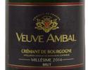 【タクシーデリバリー】 ボトルワイン Crémant de Bourgogne Brut Millésime 2016 «Veuve Ambal»