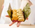 【USHIMITSU NISHIAZABU周年記念特撰】*和牛の雲丹ユッケドッグ 〜銘柄別雲丹の2種乗せ〜を、お召し上がりいただけます。