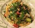 【テイクアウト】サーモンと焼き葱、紫蘇の実のペペロンチーノスパゲッティ