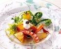 【旬の味覚×フルール】季節野菜を使用した前菜、お魚&お肉料理にメインデザートがついた全5品