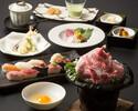 神戸牛肩ロースすき鍋とあんこうの唐揚げ寿司コース