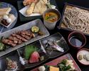 【ビジネス会食個室確約プラン】全13品 肴の3種、お造り、蟹と雲丹の茶碗蒸し、天ぷら、焼き物、選べるお蕎麦など蘇枋会席お食事お任せコース