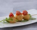 "Potato ""kushi"" , spicy mentaiko and roasted capscicum"