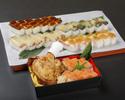 【テイクアウト】骨付き鶏モモ肉の唐揚げと押し寿司(海老)