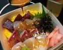 出汁茶漬も楽しめる海鮮丼 あさつき醤油付き
