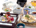 【昼食】 お造りとミニ天ぷら御膳