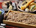 【おひとり予約OK★江戸切り蕎麦膳+1ドリンク付 2000円税込】江戸切り蕎麦、天ぷら盛り合わせ、焼き鯖の棒寿司など旬を味わうお得な蕎麦膳