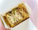 【テイクアウト】タンドリーチキン&チェダーチーズサンド(フライドポテト、スープ付)
