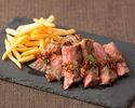 【テイクアウト】国産牛ロース肉のスパイスステーキ ガーリック醬油ソース 200g