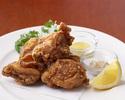 Deep-fried chicken with gomashio and mustard