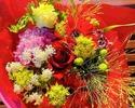 【11/1〜秋の味覚】SNSで人気のフラワープレート×生薔薇の装飾テーブル×色が選べる花束付き!秋のアフタヌーンティー