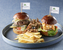 Cheese Burger & fried Shrimp ,Roasted Scallop Sliders