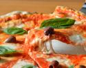11月特価【menu Casuale 全5品】前菜盛り合わせ+窯焼きピッツァ2種+本格パスタ+メインディッシュ+ドルチェ 気軽に楽しむディナーコース ※3hフリードリンク付き